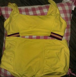 Aerie yellow bikini stripes. High waist L / XL